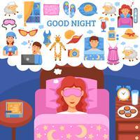 Gesunder Nachtschlaf tippt flaches Plakat