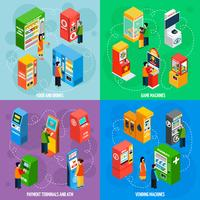 Automaten Spiele Machines Isometric Icons Square vektor