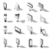Straßenwerbung isometrische Icons Set