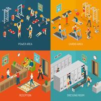 Fitness Isometric Concept Ikoner Set