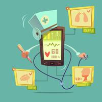 mobil online hälso-diagnostisk koncept vektor