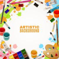 Konstnärlig bakgrund med verktyg för målningar