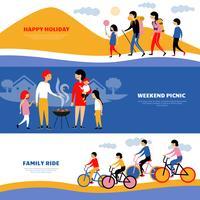 Familienurlaub Picknick 3 Banner Set vektor