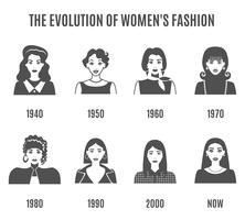 mode evolution svart vit avatar set vektor