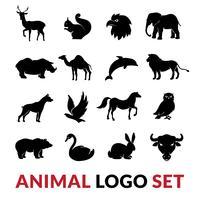 Wilde Tiere schwarz Logo Icons Set vektor