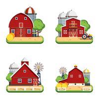 Bauernhof-Wohnung lokalisierte dekorative Ikonen vektor