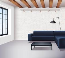 Realistisches Loft-Innenraumkonzept