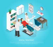 Zahnärztliche Überprüfungsverfahren-Behandlungs-isometrisches Plakat
