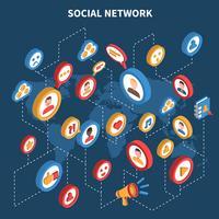 Socialt nätverk Isometrisk uppsättning vektor