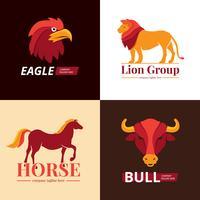 Tiere Logo Design 4 flache Ikonen vektor
