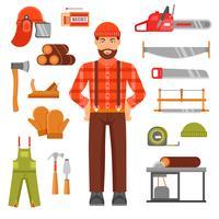 Lumberjack Dekorativa platta ikoner Set vektor