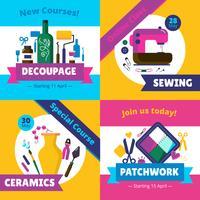 Hobby-Workshop-Kurse 4 flache Symbole