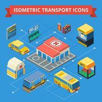 Passagerartransport Isometrisk flödesdiagram vektor