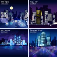 Stadt-Nachtlandschaft-Icon-Set