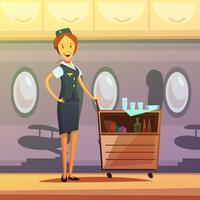 Stewardess Cartoon Illustration vektor