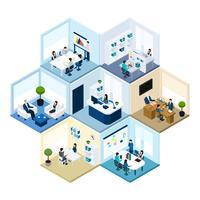 Isometrische Komposition aus Büro mit hexagonalem Mosaikmuster