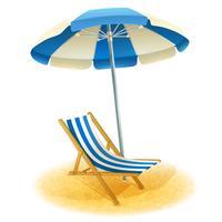 Klappstuhl mit Regenschirm-Illustration