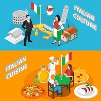Italien-Tourismus 2 isometrisches Fahnen-Plakat vektor