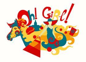Mädchen und Pferdedekorative Illustration vektor