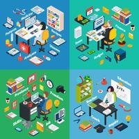 Professioneller Arbeitsplatz isometrische 4 Icons Square