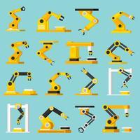 automatiska transportör ortogonala platt ikoner uppsättning