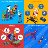 Superhero Concept Isometric Icons Set