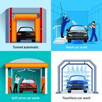 Bil Tvättjänst 4 platta ikoner vektor