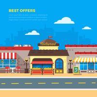 Bästa erbjudandena Cafe And Restaurant Flat Illustration vektor