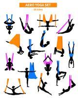 aero yoga svart vit ikonuppsättning vektor
