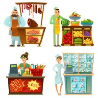 Verkäufer Counter Service 4 Cartoon Compositions Set vektor