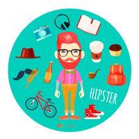 Hipster karaktärstillbehör platta rund illustration vektor