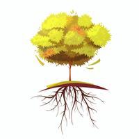 Träd med rött Retro tecknad illustration