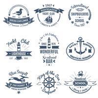 Nautiska marin etiketter och logotyper