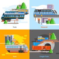 Konzept für den Schienentransport 2x2 vektor