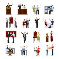 Auction People Flat Icons Set vektor