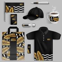 Werbung für Corporate Identity mit Goldpalmenblättern vektor