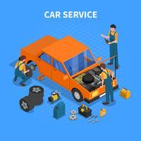 Auto Service Arbeitsprozess isometrisch vektor