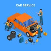 Car Service Arbetsprocess Isometrisk vektor