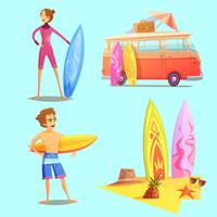 Surfa Retro Cartoon 2x2 Ikoner Set vektor