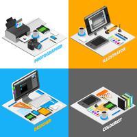 Grafisk designkoncept Isometrisk uppsättning
