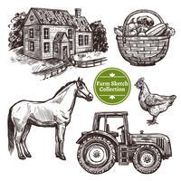 Bauernhof Hand gezeichnete Skizze Set