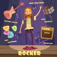 Rocker Character Pack För Man vektor