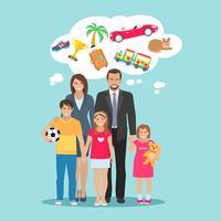 Familie träumt Illustration