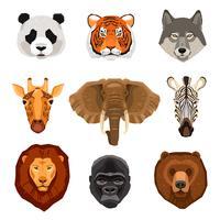 Tecknade djurporträtt Set