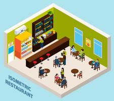 Isometrisches Kompositions-Plakat des Restaurant-Bar-Innenraums