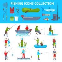 Fischen Sie flache Ikonen 2 Banner Set vektor