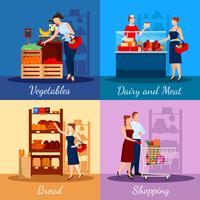 Einkaufsabteilungen im Supermarkt