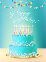 Herzlichen Glückwunsch zum Geburtstag mit realistischem Kuchen vektor