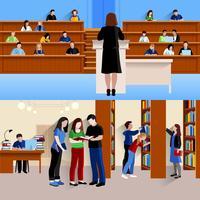Studenter vid universitetets horisontella banderoller vektor