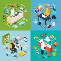 Workplace Professions 2x2 Isometric Compositions